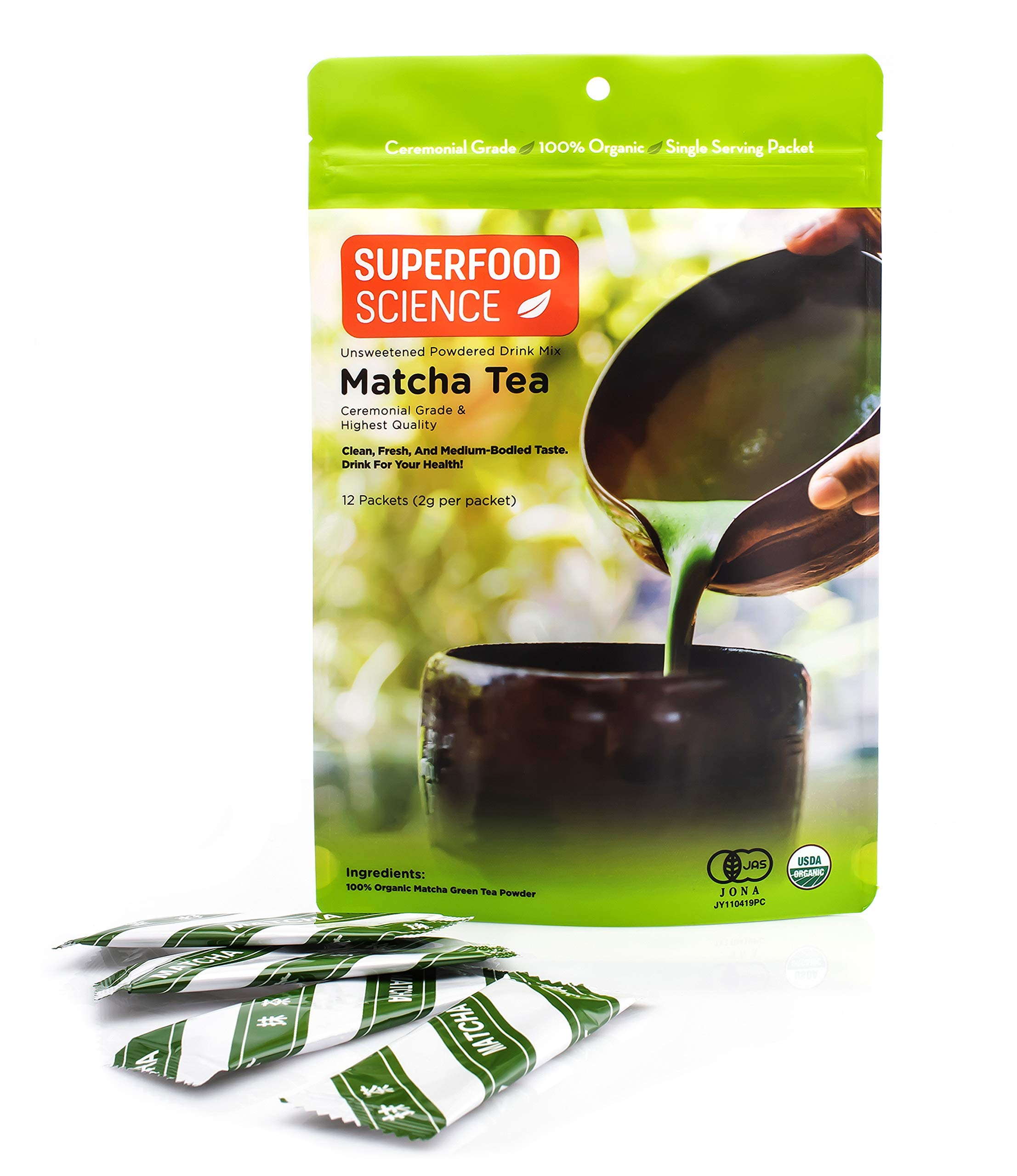Superfood Science Matcha Green Tea Powder, Authentic Japanese Ceremonial Grade Matcha, USDA Organic, 12 Single Serve Stick Packs
