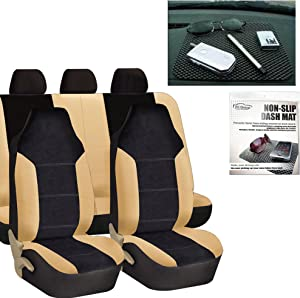 FH Group FH-FB103115 Leather/Velour High Back Car Seat Covers Beige/Tan (Full Set Airbag Ready and Split Rear Bench) FH1002 Non-Slip Dash Grip Pad-Fit Most Car, Truck, SUV, or Van