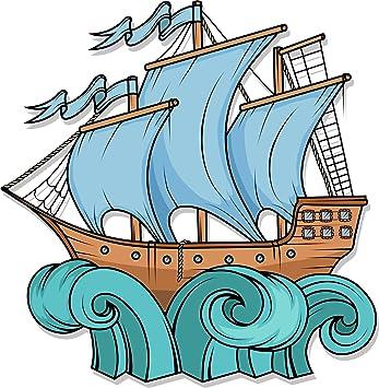 Amazon Com Simple Blue Sail Pirate Ship In Waves Cartoon Vinyl Sticker All Sizes Automotive