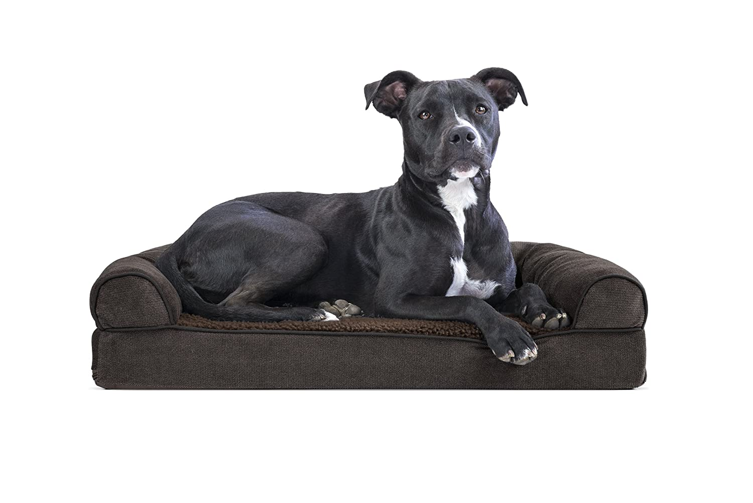 FurHaven Pet Dog Bed   Memory Foam Faux Fleece & Chenille Soft Woven Couch Sofa-Style Pet Bed for Dogs & Cats, Coffee, Medium