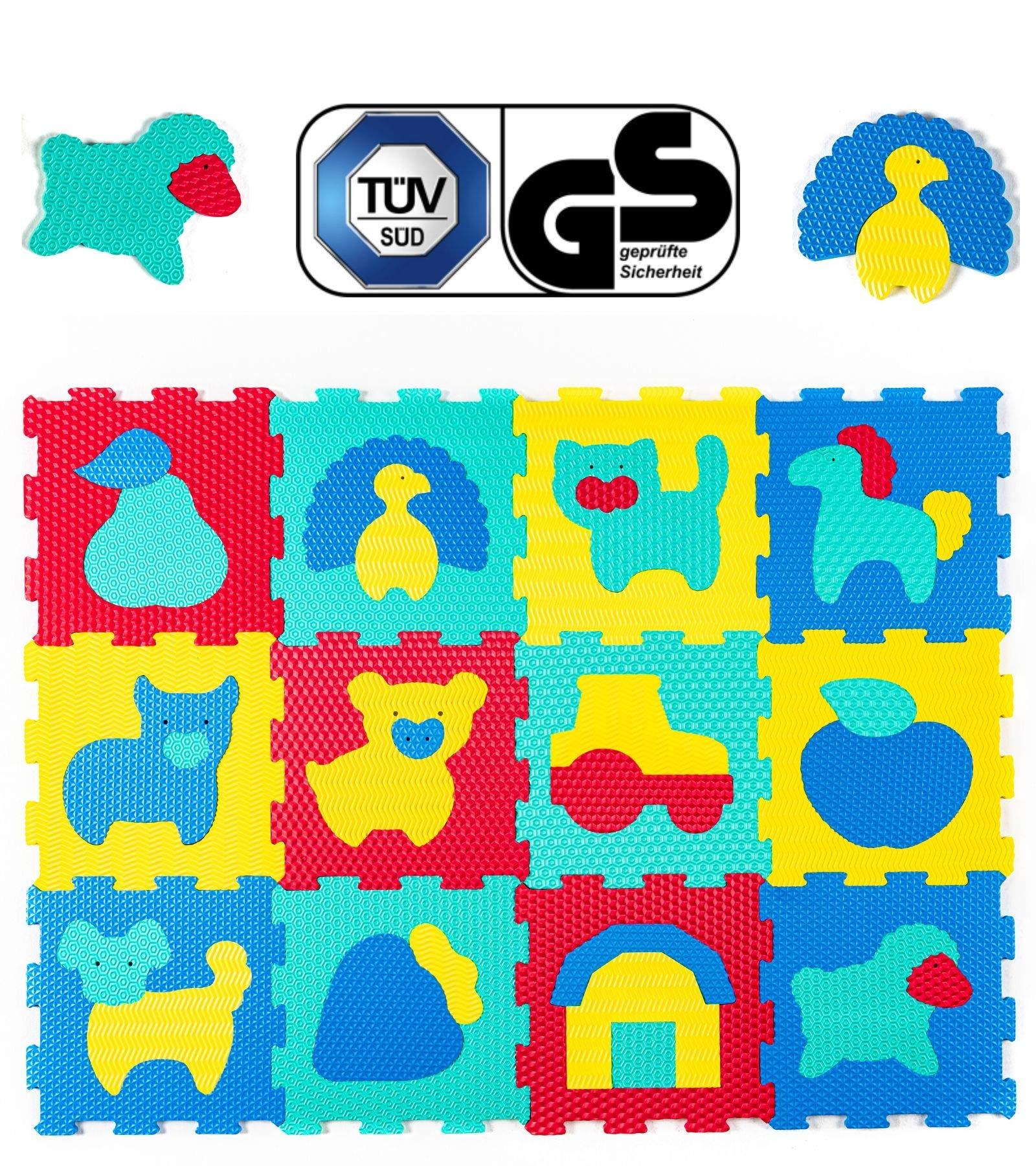 Large Interlocking Floor Kids Puzzle Mat Tiles Set 12PCS 120x90CM Indoor Outdoor Zoo Animals Jigsaw Playmats Play Gym Soft Rug Baby Crawl Mats Play Mat for Children Foam Mats UK Company