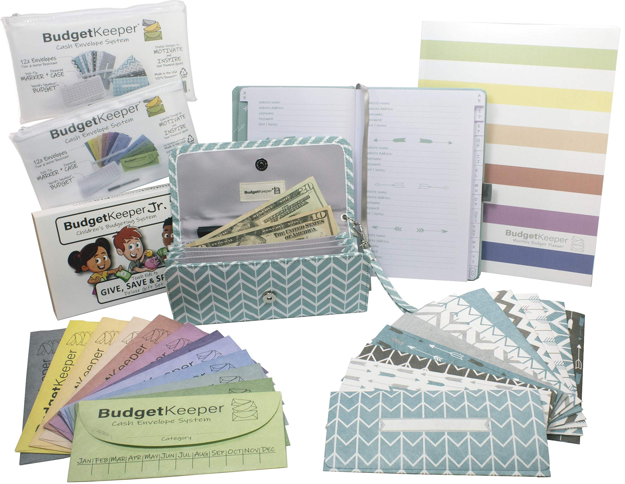 Budget Keeper Deluxe Cash Envelopes Family Pack-2 Cash Envelope System-Kids Money Pouches-Women's Wallet-Budget Planner-Password Journal by Budget Keeper