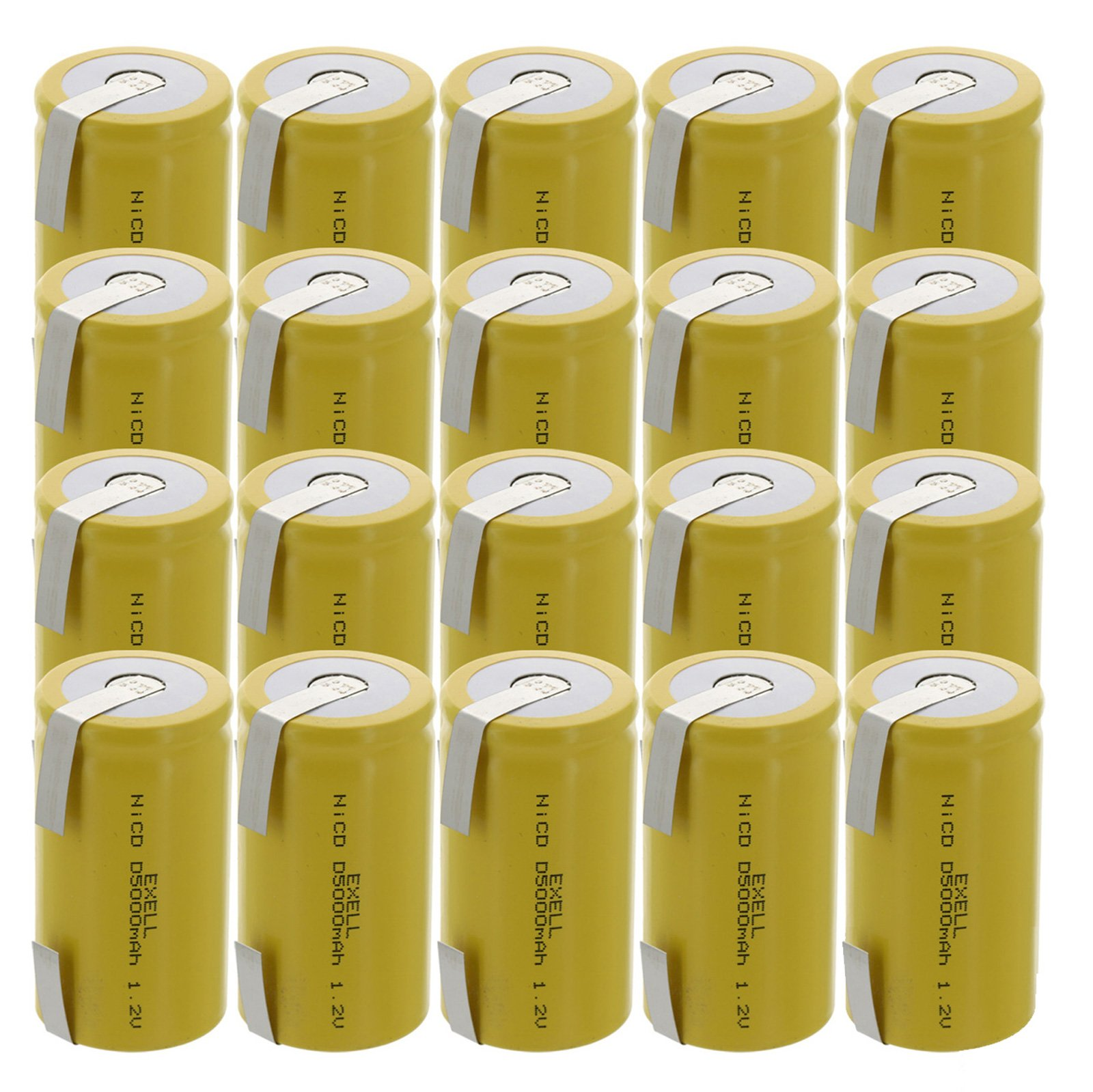 20x Exell D Size 1.2V 5000mAh NiCD Rechargeable Batteries with Tabs for medical instruments/equipment, electric razors, toothbrushes, radio controlled devices, electric tools by Exell Battery