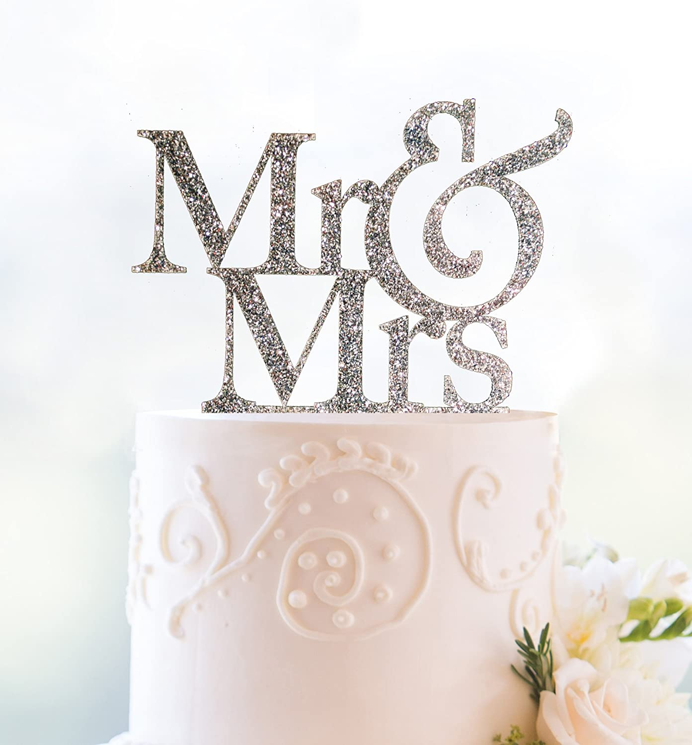 Amazon.com: Silver Glitter Mr and Mrs Cake Topper: Kitchen & Dining