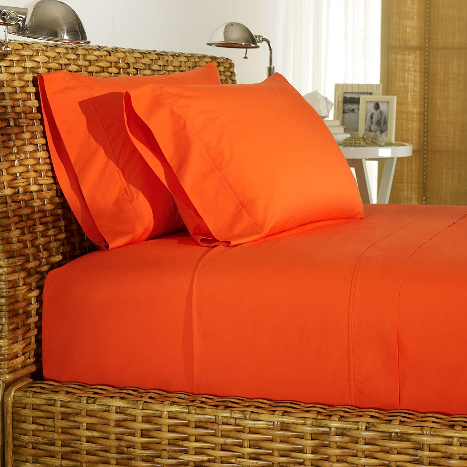 Rajlinen Orange Solid 4 PCs Bed Sheet Set Queen Size Egyptian Cotton