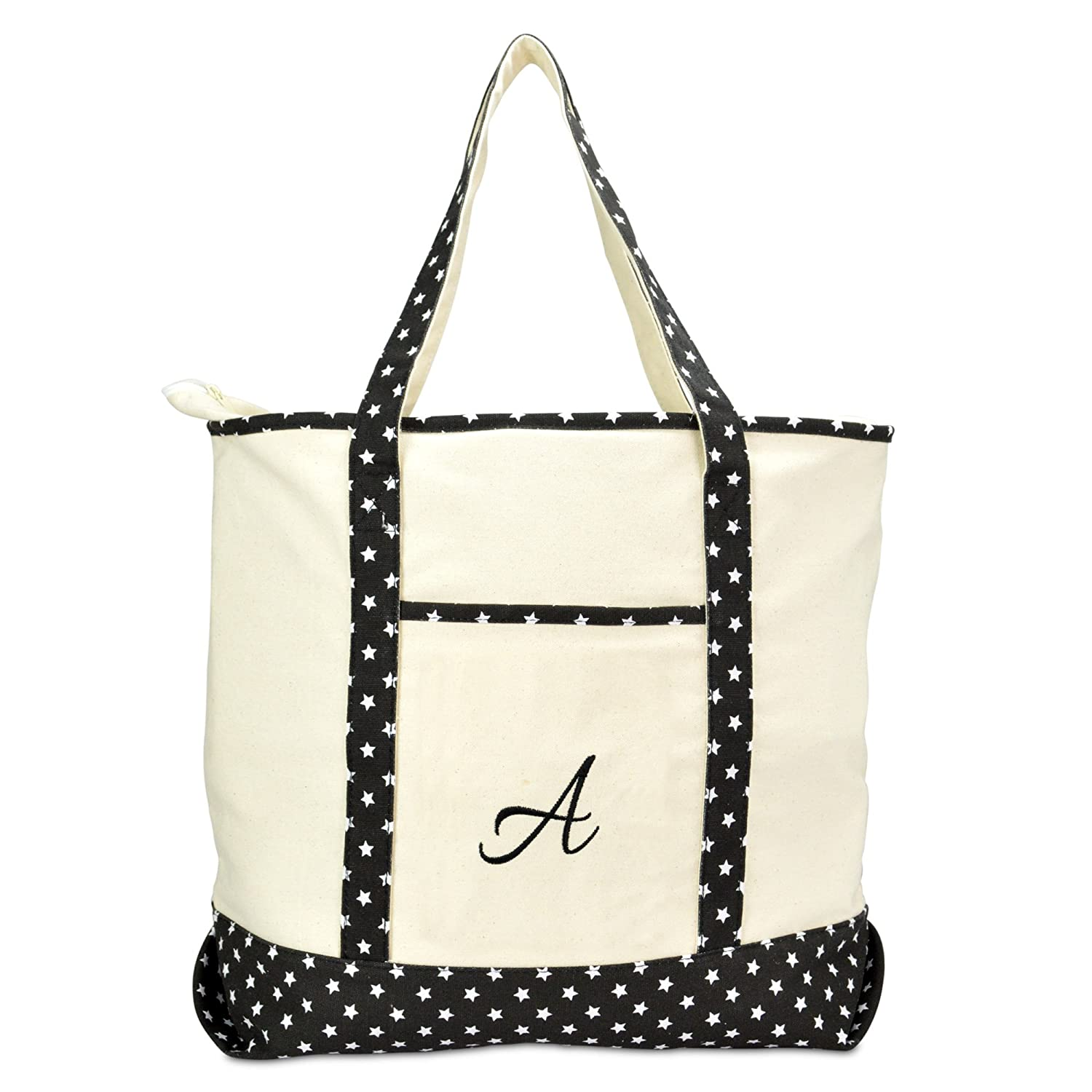 1031bbed32 DALIX Personalized Shopping Tote Bag Monogram Black Star Initial Zippered  Letter A-Z
