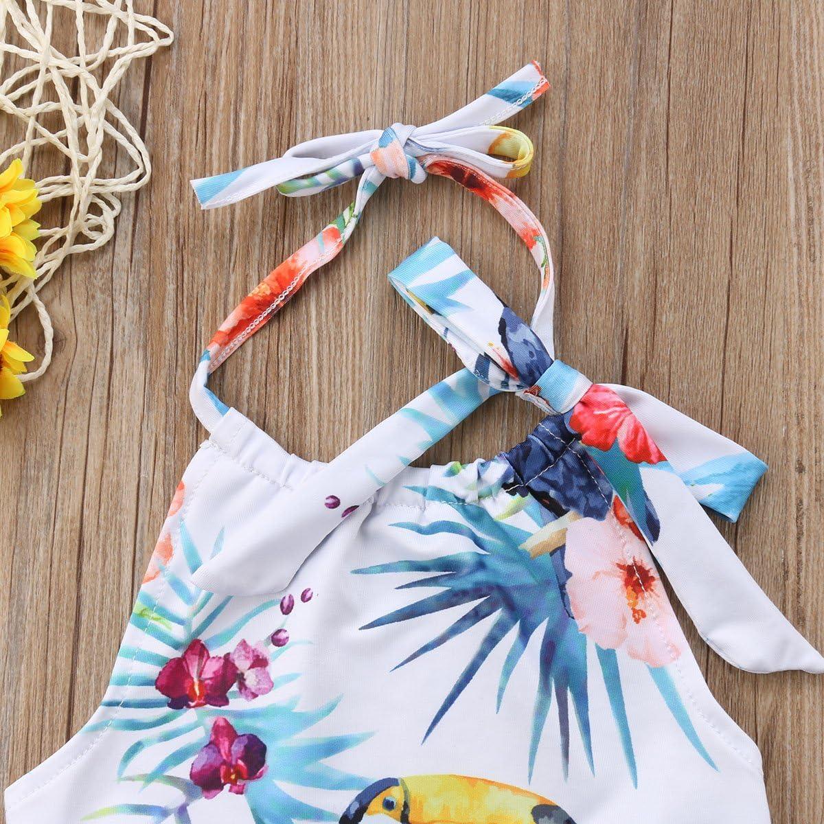 Andannby Kids Toddler Girl Flower Birds Printed Halter One-Piece Swimsuit Swimwear