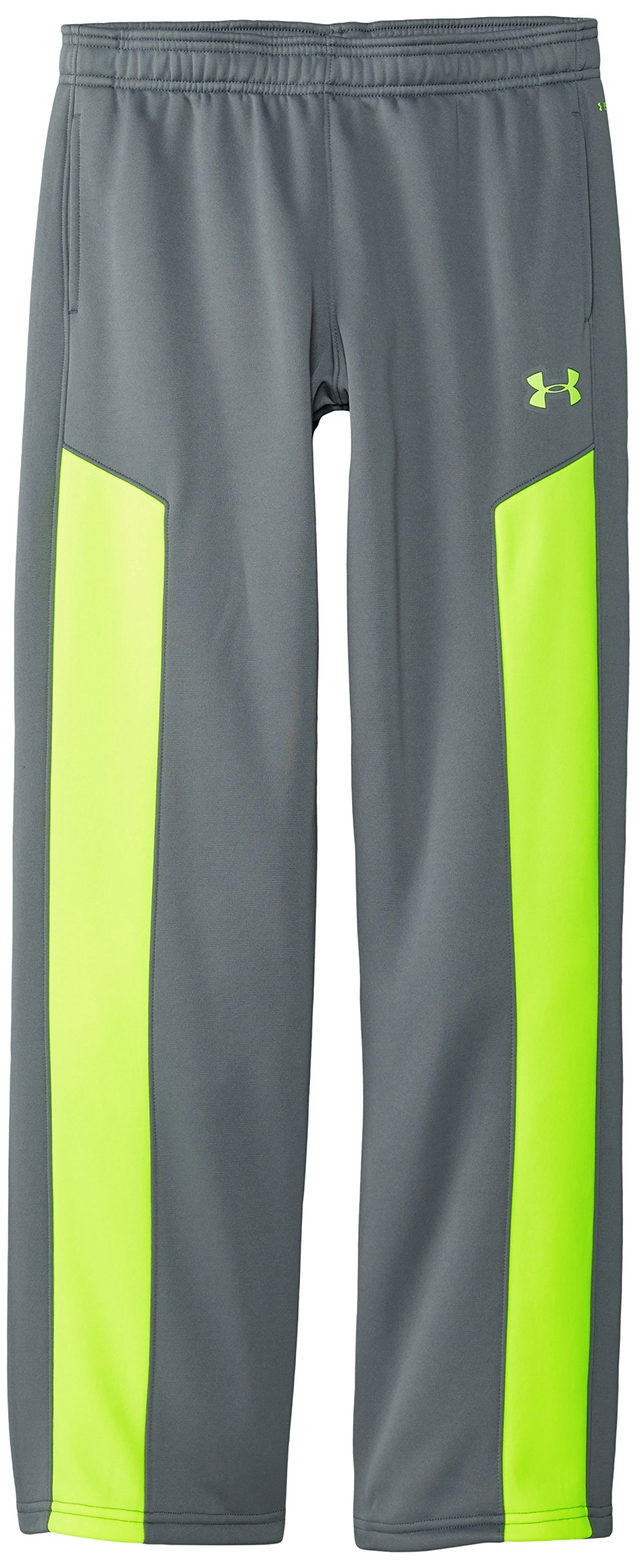 Under Armour Youth Boys' Fleece Storm Pant, Graphite /High-Vis Yellow, Youth Small
