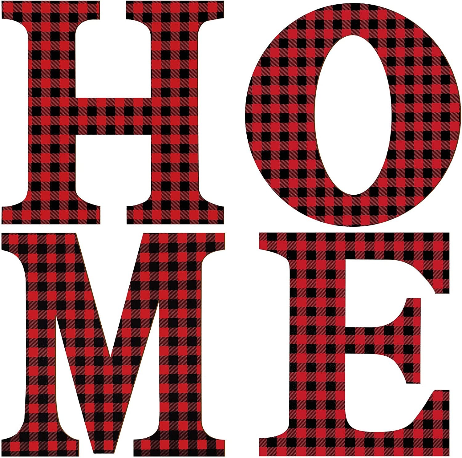4 Pieces Christmas Home Letter Sign Buffalo Check Plaid Letter 12 Inch Wooden Large Home Sign Rustic Wooden Holiday Ornaments for Front Door Christmas Holiday Indoor Home Decor
