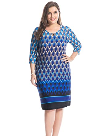 Chicwe Womens Keyhole Neck Metal Neck Trim Border Print Plus Size Dress 16, Blue Border