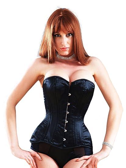 7aaa62b6ca9 Killer Corsets Women s Corset Victorian Satin Black Overbust Steel Boned  Design  Amazon.co.uk  Clothing