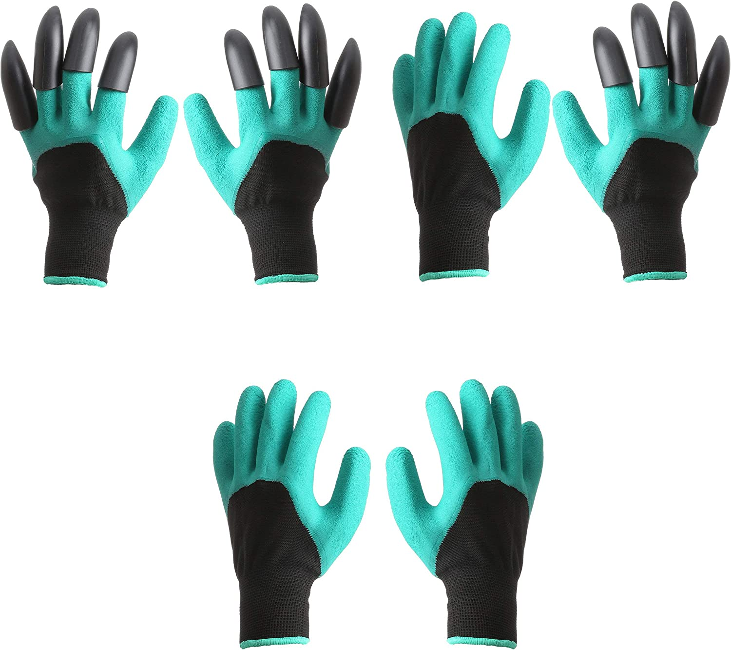 3Pairs Garden Genie Puncture Resistant Waterproof Claws Gardening Gloves for Quick and Easy Digging Planting Normal single Claws