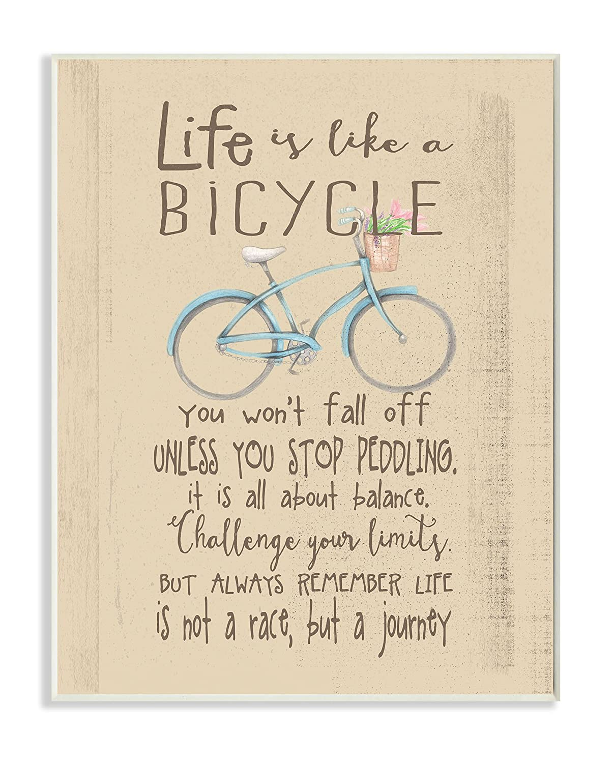 Stupell Home Décor Life is Like a Bicycle' Icon Inspirational Typography Wall Plaque Art, 10 x 0.5 x 15, Proudly Made in USA Stupell Industries BRP-1809_wd_10x15