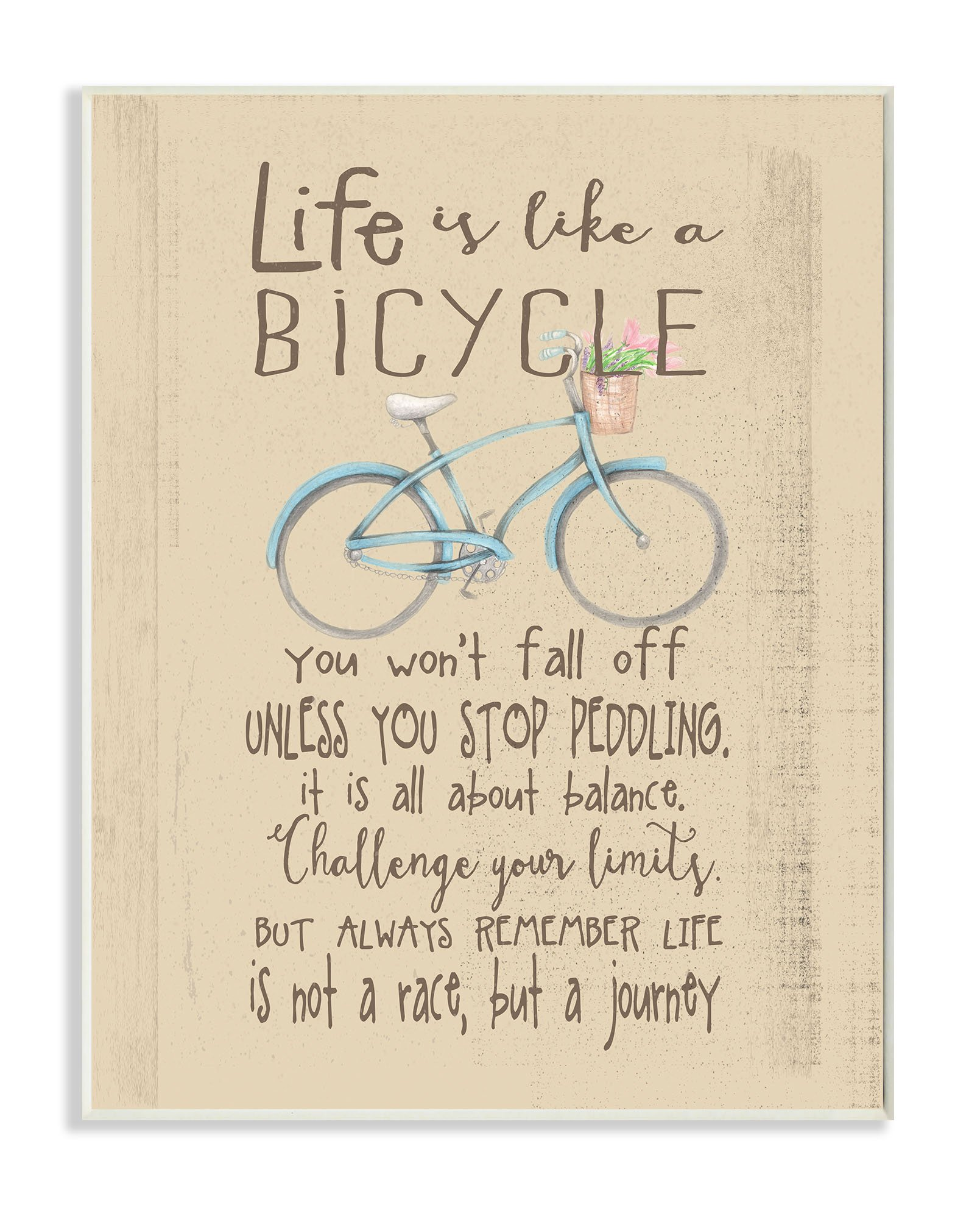 Stupell Home Décor Life is Like a Bicycle' Icon Inspirational Typography Wall Plaque Art, 10 x 0.5 x 15, Proudly Made in USA