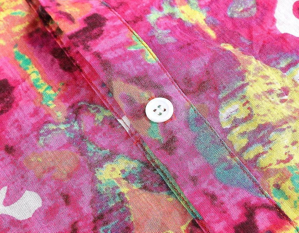 Mens Henleys Shirt Beautyfine Summer Breathable Comfortable Colorful Printed Short T-Shirts