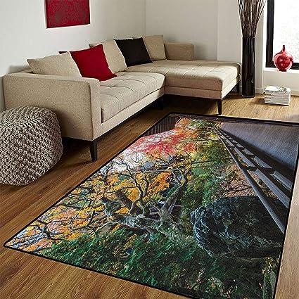 Amazoncom Japanesebath Mats Carpetforest Landscape From A Wooden
