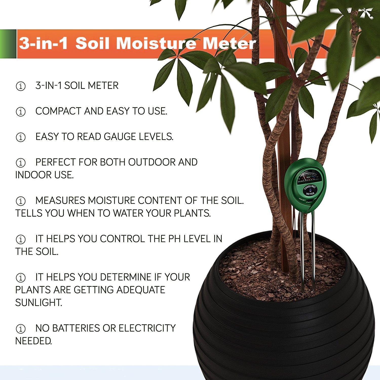 amazon com 3 in 1 soil moisture meter petcaree light and ph