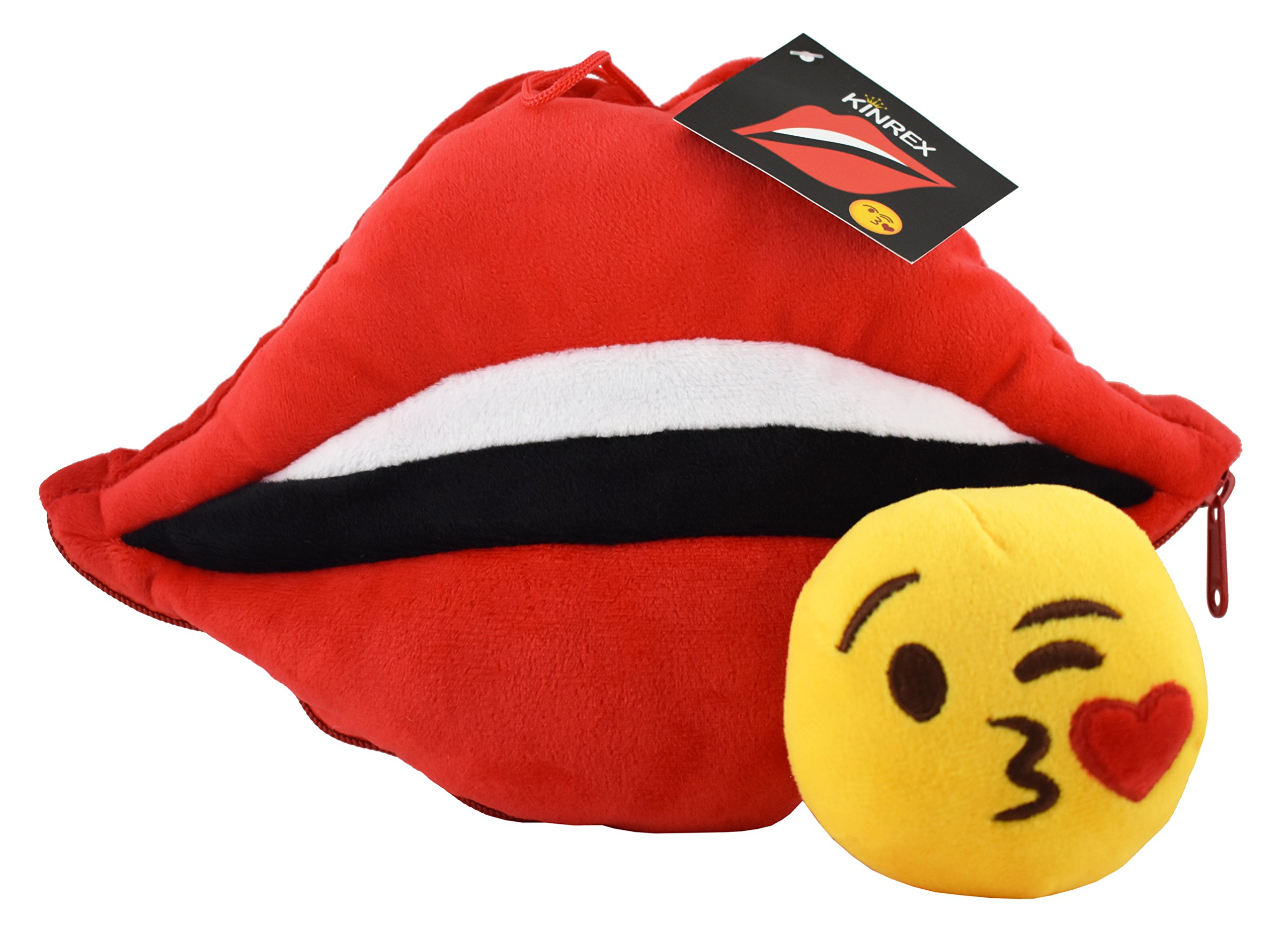 KINREX Soft Plush Red Lip Pillow Toy with Blow Kiss Emoji Inside - Birthday Presents for Baby, Toddler, Kids, Adults - Bed and Home Decoration - Measures 11.81'' / 30 cm. Wide