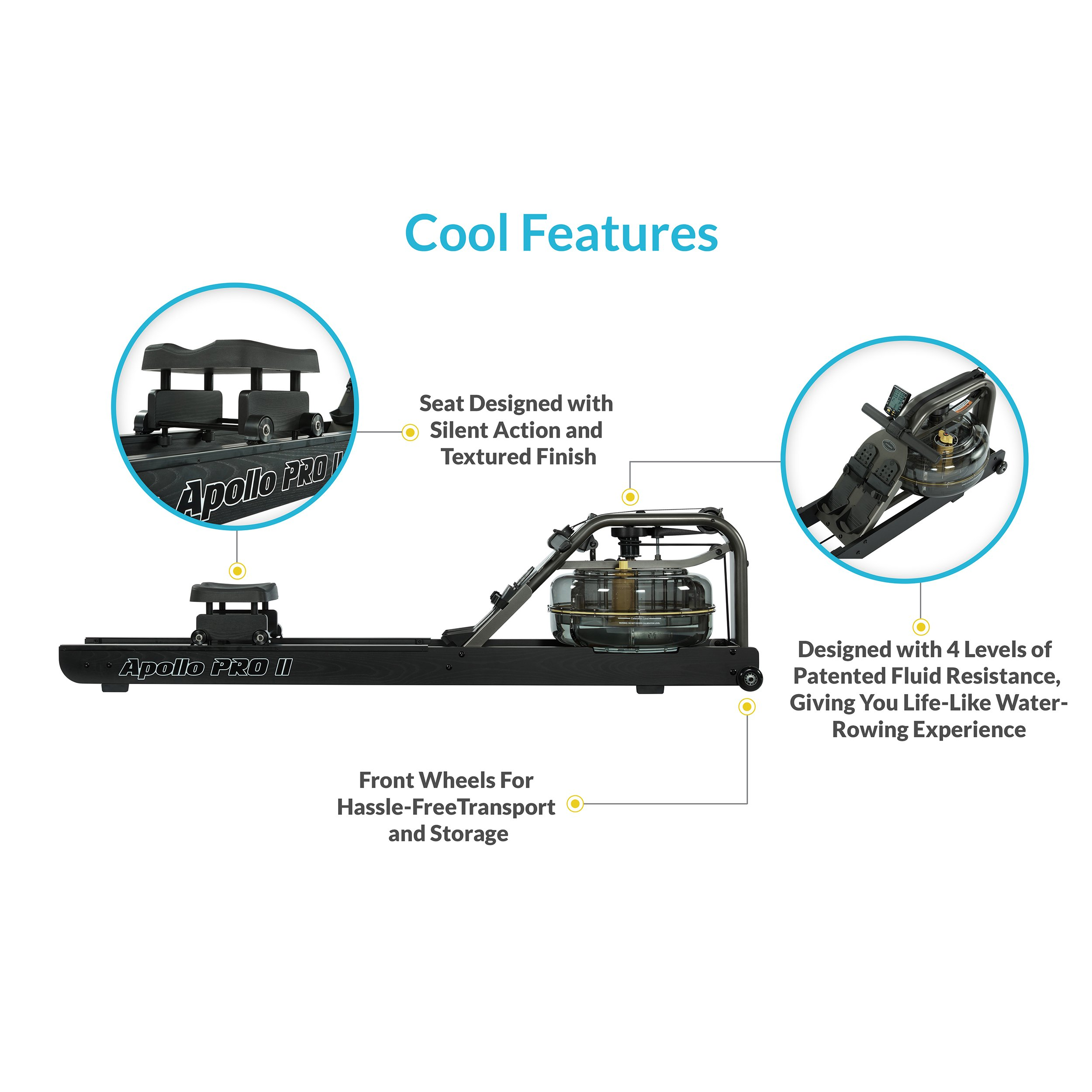 First Degree Fitness Indoor Water Rower with Adjustable Resistance - Apollo Pro II Black Reserve by First Degree (Image #2)