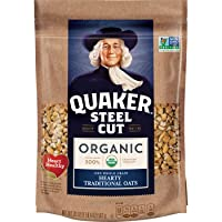 Quaker Steel Cut Oats, USDA Organic, Non GMO Project Verified, 24oz Resealable Bags...