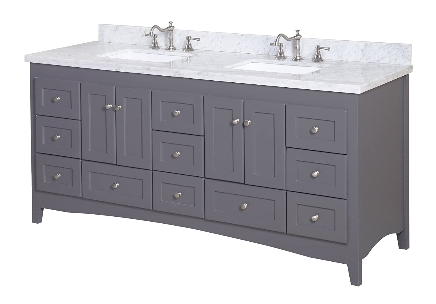 Kitchen Bath Collection KBC3872GYCARR Abbey Bathroom Vanity With Marble  Countertop, Cabinet With Soft Close Function And Undermount Ceramic Sink,  ...