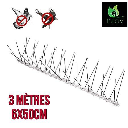 Kit 6 m/ètres r/épulsif Oiseaux Pics Anti Pigeons Anti Corbeaux en Acier Inoxydable. IN-OV