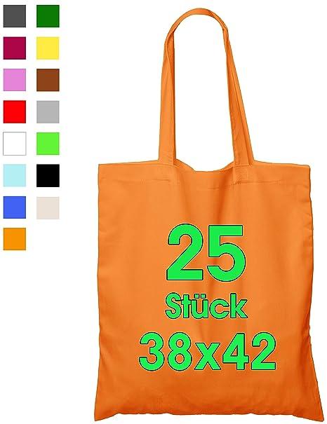 ELES VIDA 25 Bolsas de algodón, 38 x 42 cm, sin Estampar, Asas largas, Bolsa de Tela, Bolsa de algodón, Bolsa de Yute con Certificado Öko-Tex ®, ...