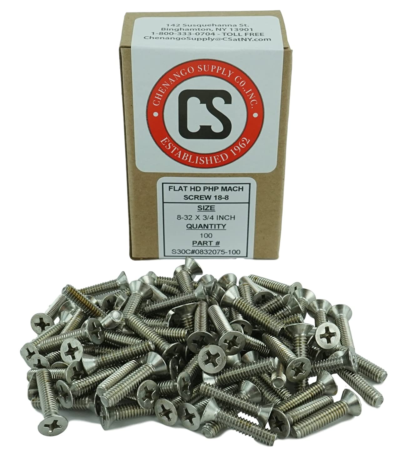 Full Thread 1//2 to 2 Lengths Available Phillips Drive Machine Thread Stainless 8-32 x 1 Flat Head Machine Screws Chenango Supply 8-32 x 1 Stainless Steel 18-8
