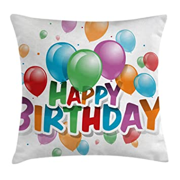 Amazon.com: Cumpleaños Decoraciones Throw almohada funda de ...