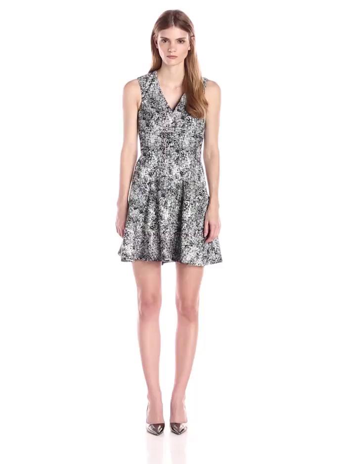 Rebecca Taylor Women's Animal Jacquard Flared Dress, Black, 4