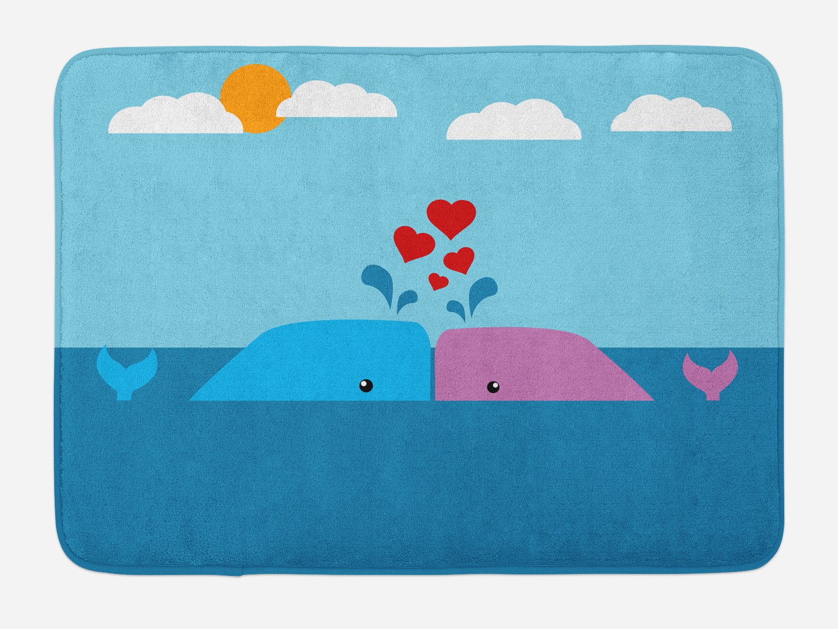 Ambesonne Whale Bath Mat, Art of Romantic Love Valentine's Whales in Ocean with Sun and Clouds Animal Fun, Plush Bathroom Decor Mat with Non Slip Backing, 29.5 W X 17.5 W Inches, Blue and Pink