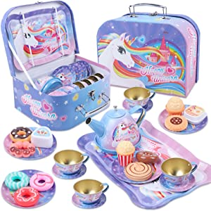 Golray 27Pcs Kids Tea Party Set for Little Girls Unicorn Gift Pretend Toy Tin Tea Set & Carrying Case & Food Sweet Treats Playset, Princess Tea Time Kitchen Pretend Play Tea Set Toys