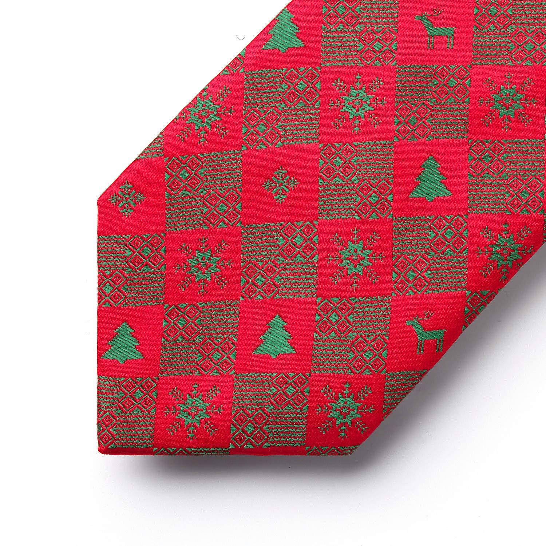 HISDERN Mens Christmas Tie Woven Party Necktie /& Pocket Square Set