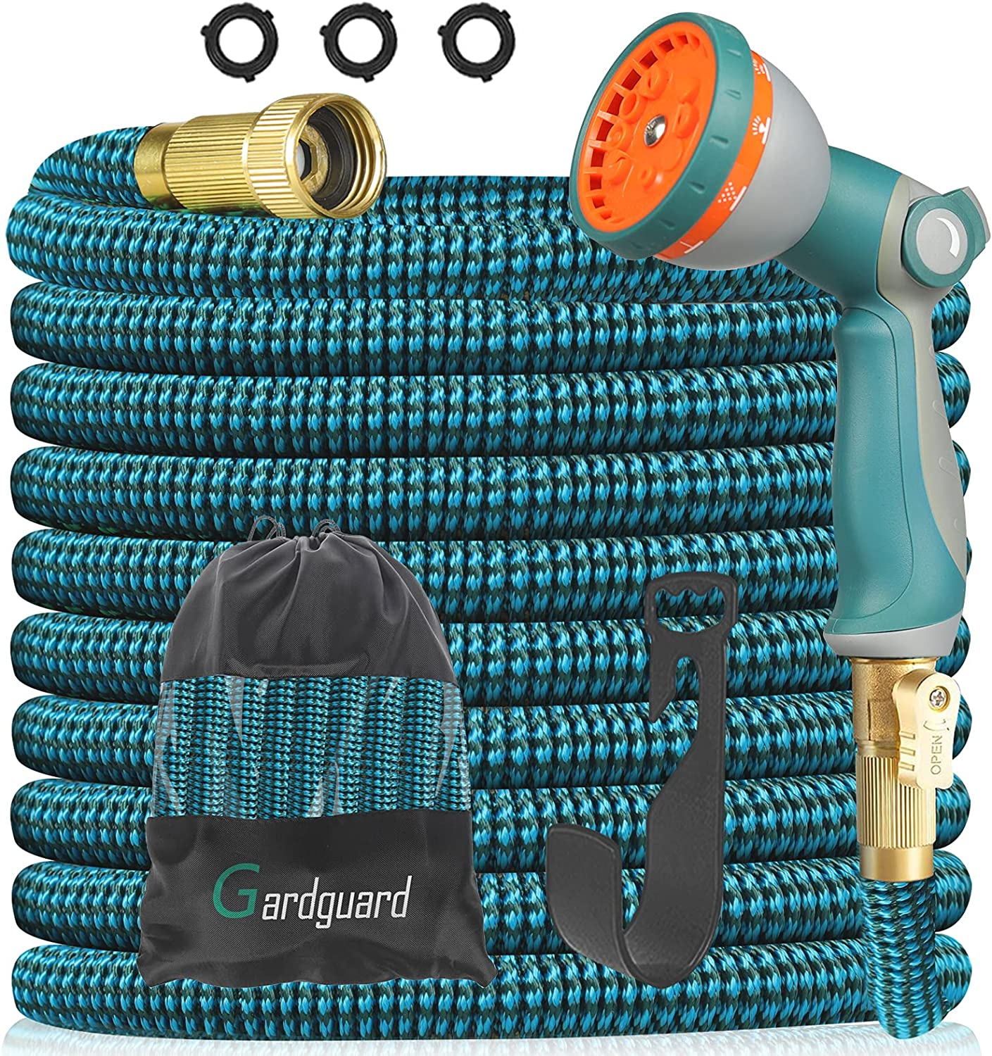 Gardguard 25ft Expandable Garden Hose Water Hose with 10 Function High Pressure Nozzles and 3-layers Latex Lightweight ExpandingWash Hose, 3/4 Connectors Leakproof, Outdoor Yard Watering and Washing