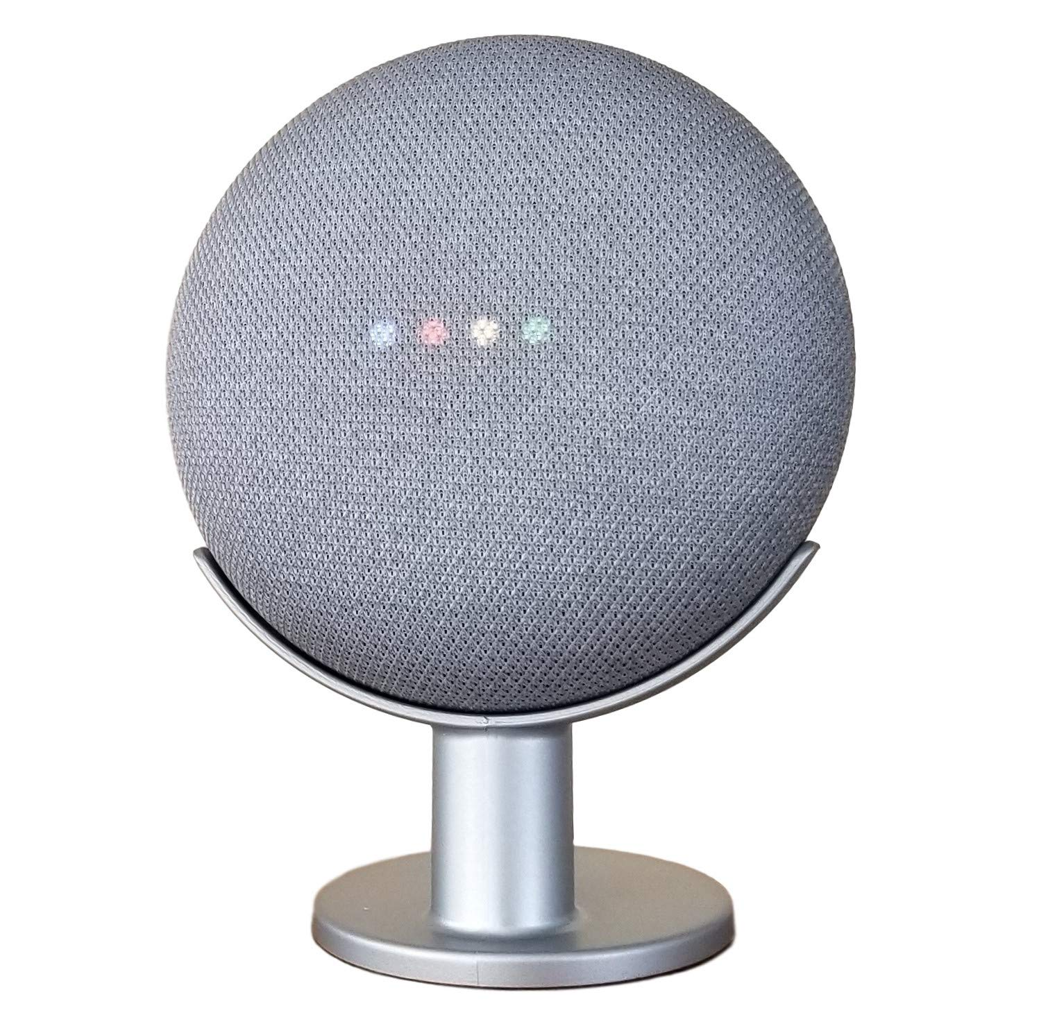 Mount Genie Google Home Mini Pedestal: Improves Sound Visibility and Appearance - Cleanest Mount Holder Stand for Google Mini - Designed in USA (Silver)