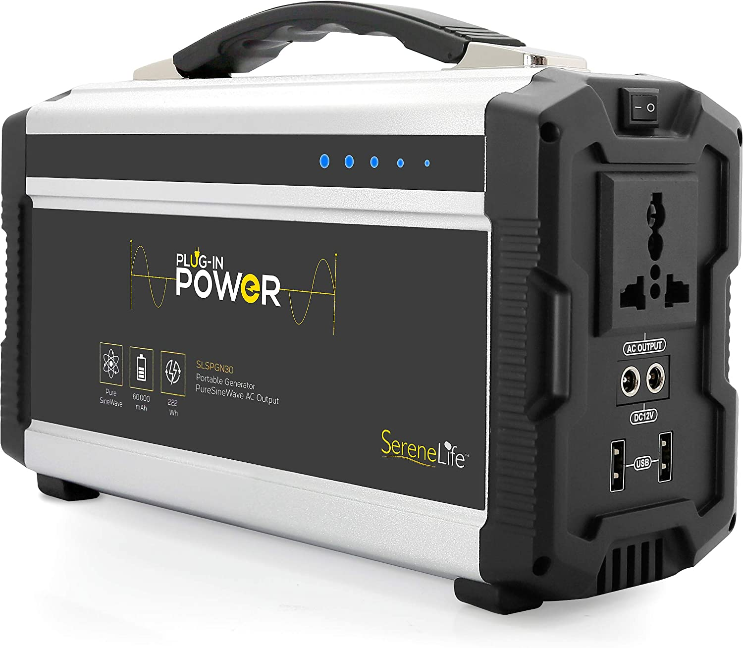 Rechargeable Battery Portable Power Generator – 222-Watt Solar Panel Compatible, Dual USB Device Charge Ports, Digital LED Display Panel – Works with Phones, Tablets Laptops – SereneLife SLSPGN30