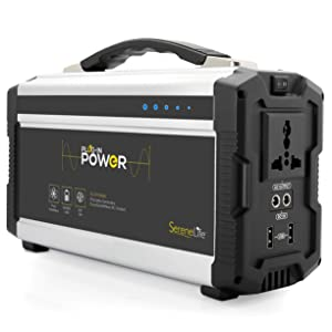 Rechargeable Battery Portable Power Generator - 222-Watt Solar Panel Compatible, Dual USB Device Charge Ports, Digital LED Display Panel - Works with Phones, Tablets & Laptops - SereneLife SLSPGN30
