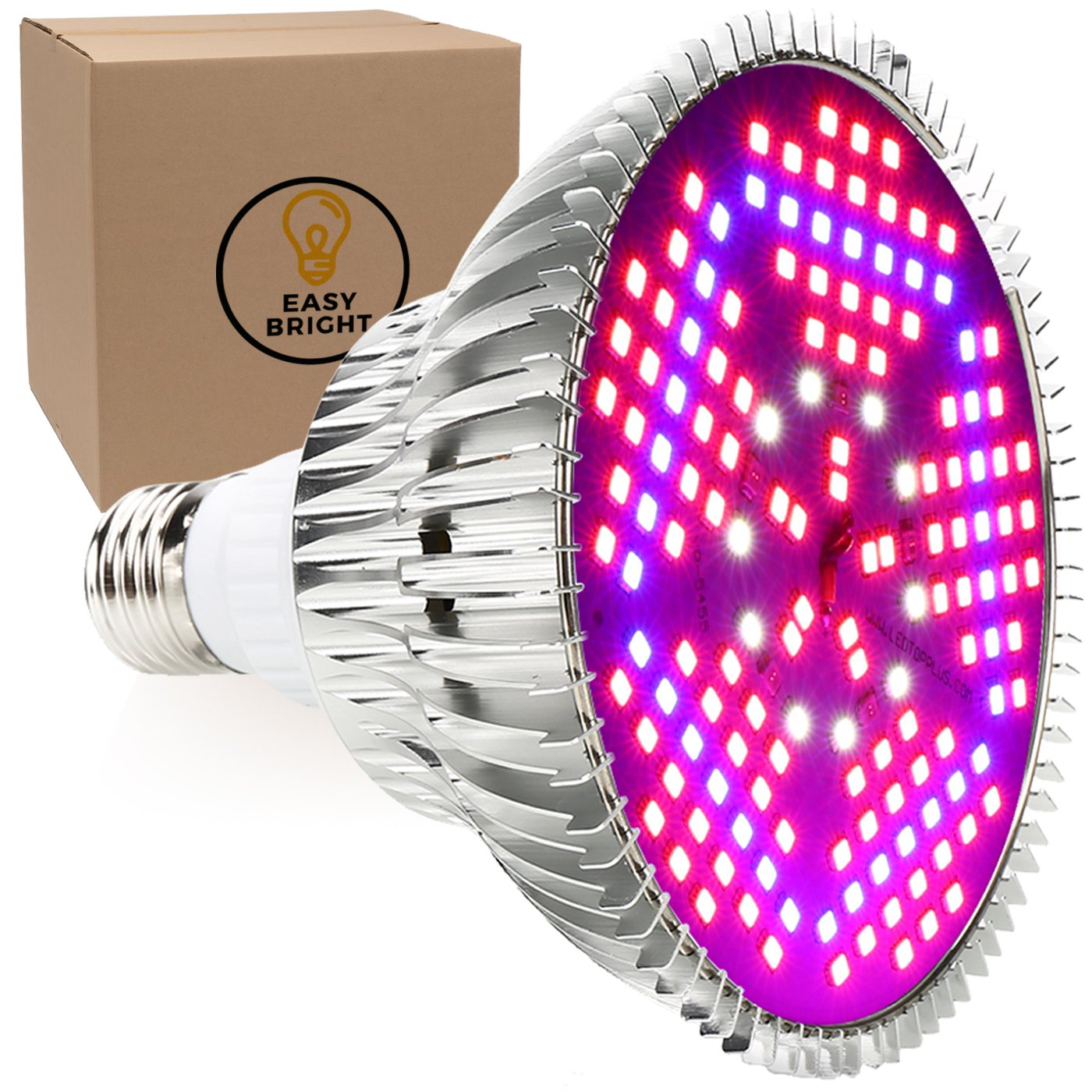 100W LED Grow Light Bulb - Full Spectrum Lamp for Indoor Plants, Garden, Flowers, Vegetables, Greenhouse & Hydroponic Growing, E27 Base with 150 LED's (AC85-265V) by Easy Bright