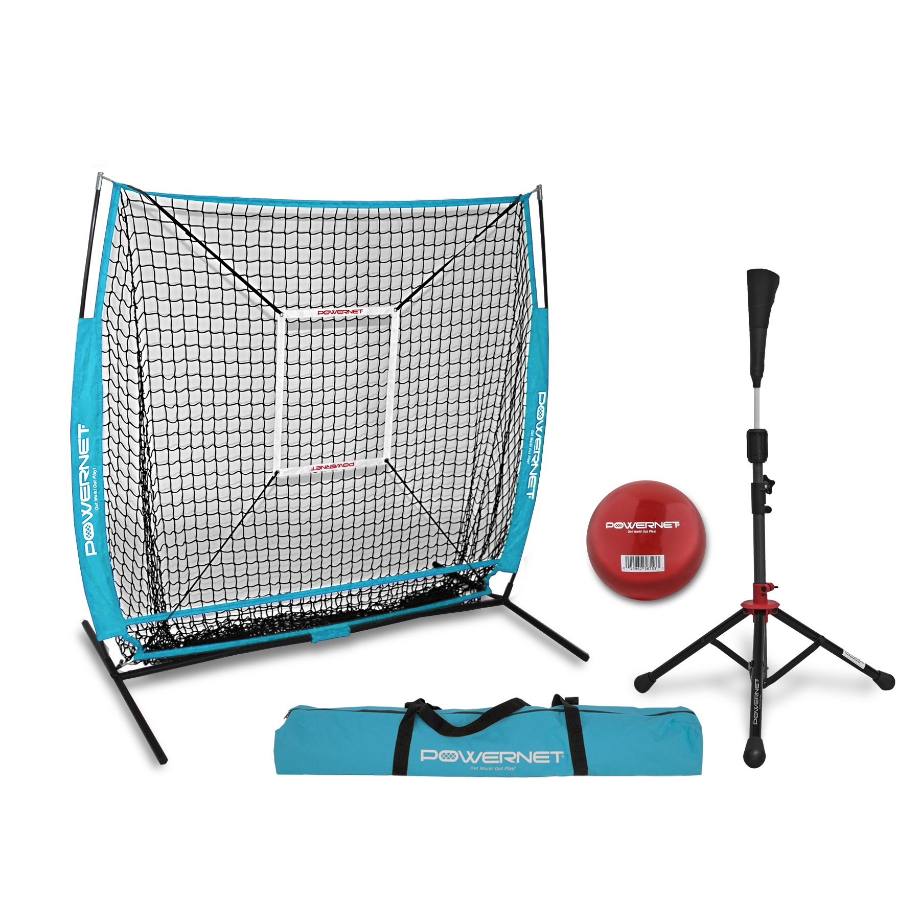 PowerNet 5x5 Practice Net + Deluxe Tee + Strike Zone + Weighted Training Ball Bundle (Sky Blue) | Baseball Softball Pitching Batting Coaching Pack | Work on Pitch Accuracy | Build Plate Confidence