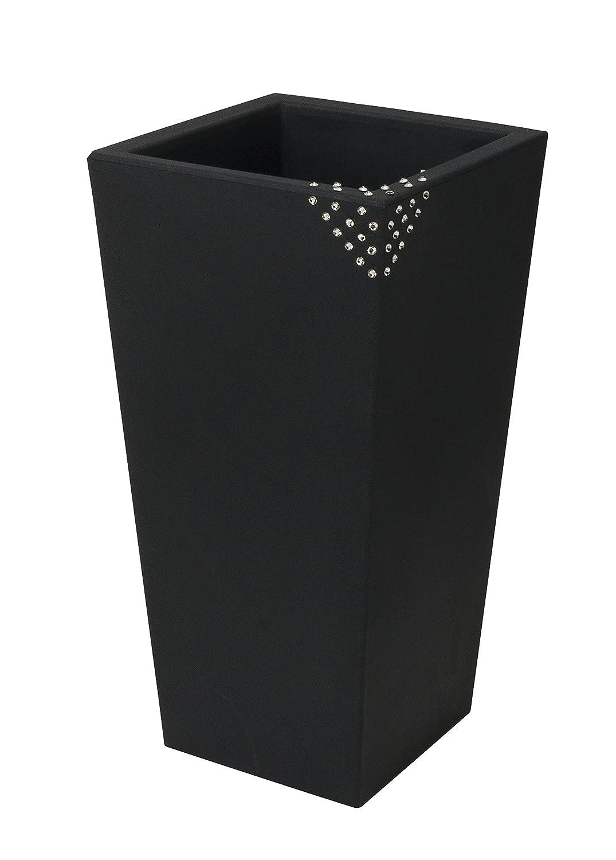 Blumentopf / Pflanztopf Nicoli Eros mit original Swarovski Kristallen, Motiv Pyramid, B30 x H60 x T30 cm, anthrazit, matt, 14 l Inhalt, für Innen und Außen, aus hochwertigem Polyethylen