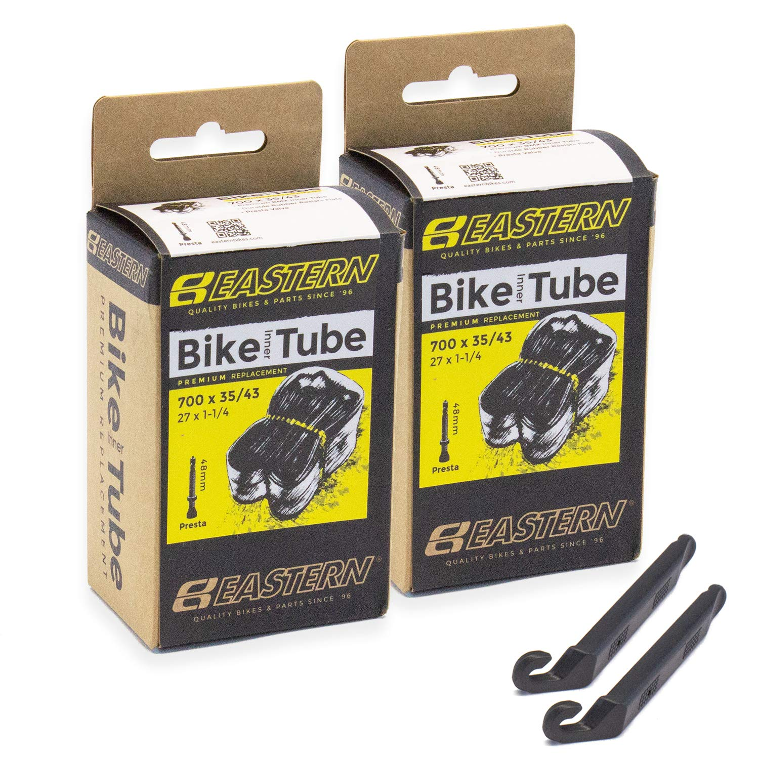 1,2,3,4,5 Packs 33,39,48,60mm 27 x 1-1//4 Eastern Bikes 700c x 35//43 /& Repair Kit Comes with Tire Lever Tools. Replacement Tube Kits Presta Valve
