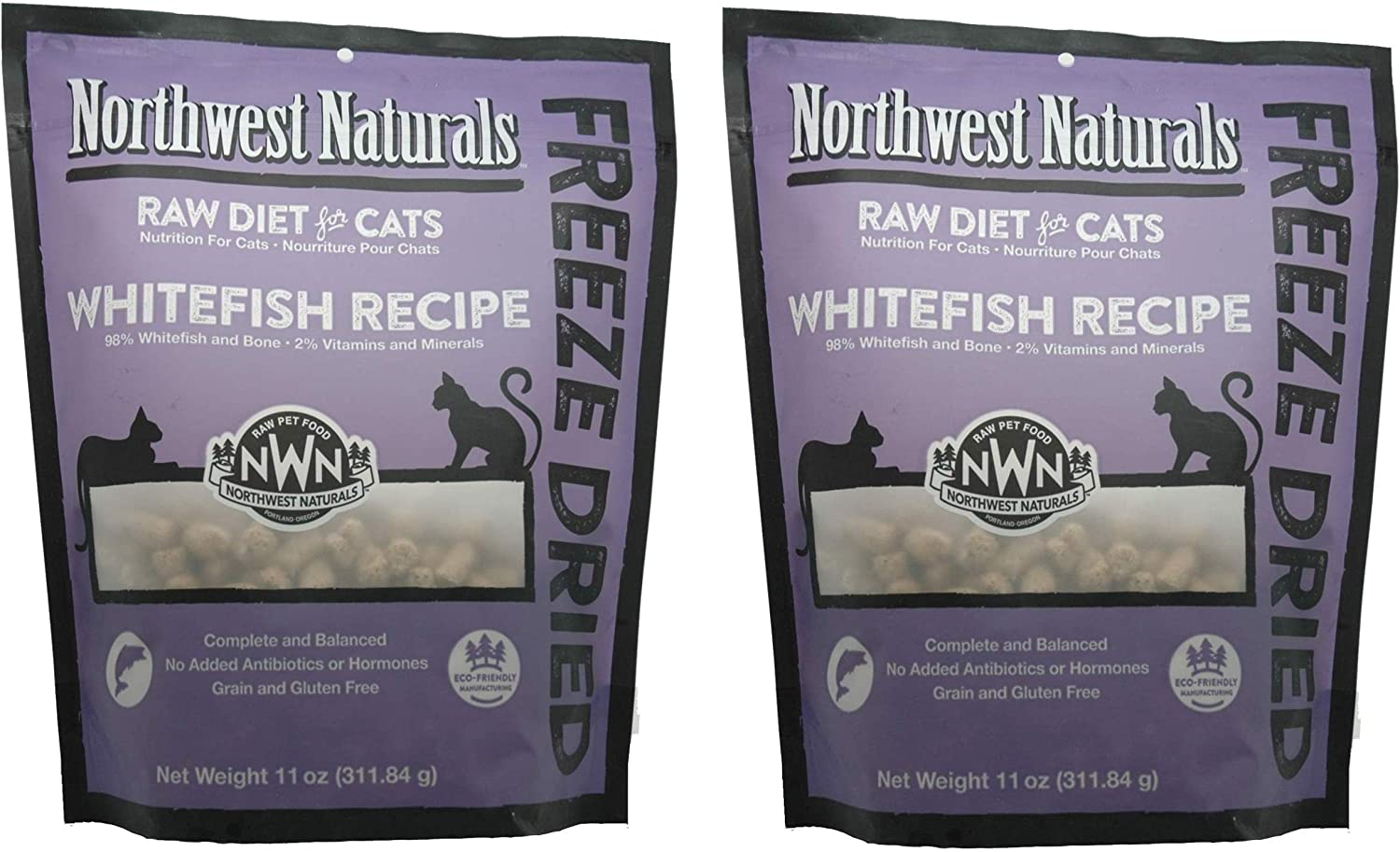 Northwest Naturals 2 Pack of Freeze-Dried Whitefish Raw Food for Cats, 11 Ounces Each