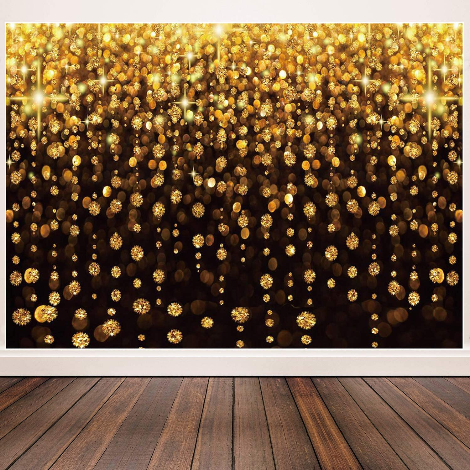 Negeek 7x5ft Gold Bokeh Spots Ployester Backdrop for Photo Booth Shoot Graduation Party Supplies 2020 Prom Wedding Selfie Birthday Party Pictures Glitter Dot Studio Props Photography Background