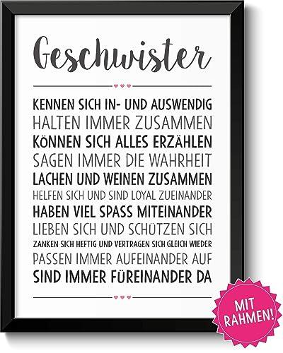 Geschwister Liebe Bild Im Schwarzem Holz Rahmen Geschenk Geschenkidee Bruder Schwester