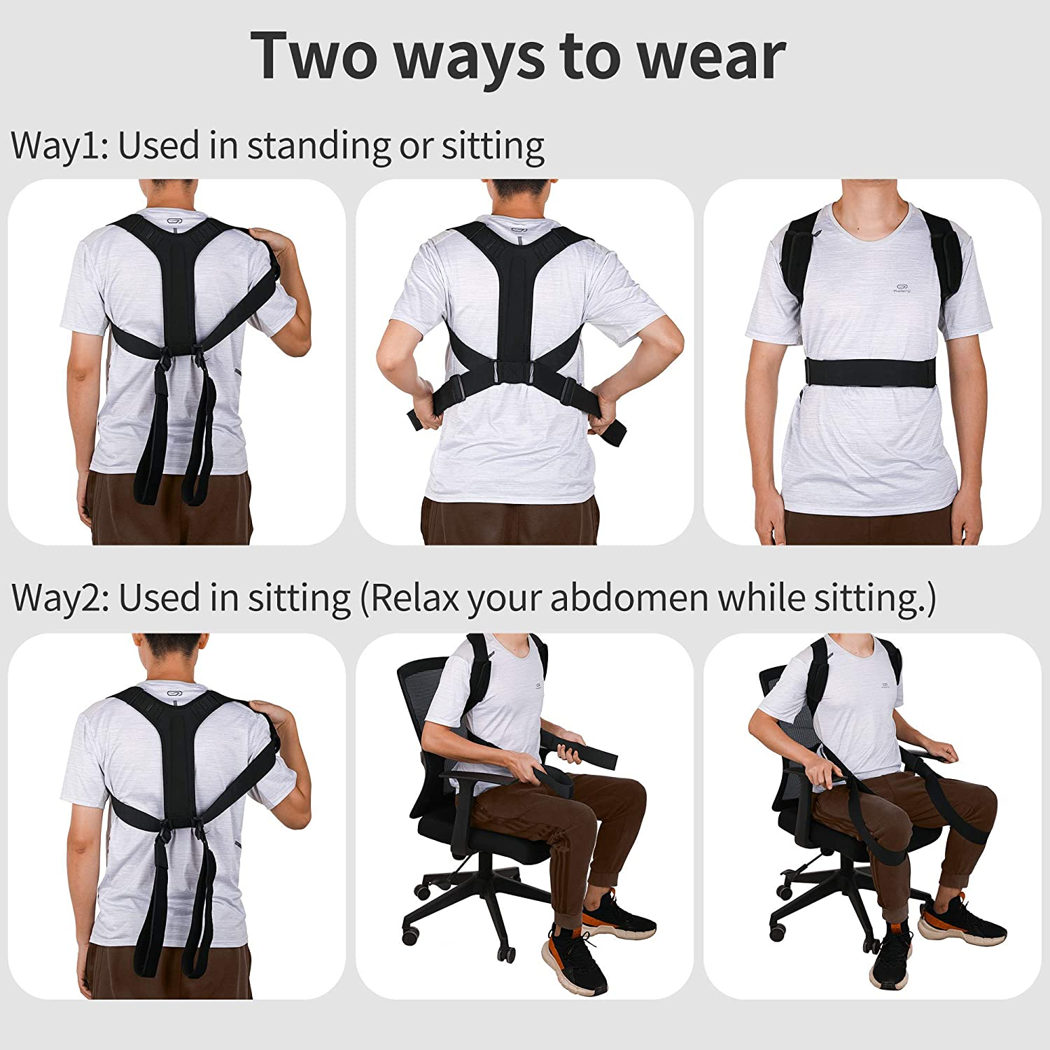 Posture Corrector,Body Wellness Posture Corrector for Women Men and Kids,Back Brace With Two Adjustable Wearing ways, Breathable Posture Brace For Upper Back, Shoulder and Neck Pain Relif(M-XXL): Health & Personal Care