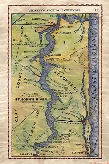 St Johns Florida Map.Amazon Com 118 St Johns River 1876 Florida Vintage Historic Antique