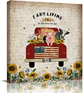 Love - Home Canvas Print Wall Painting, American Flag Red Truck with Pig Chicken Cow Sunflower Retro Newspaper Contemporary Art Decoration for Bedroom Square Wall Decor (20
