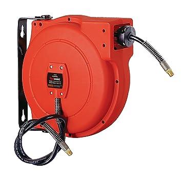ReelWorks L705102A - Carrete de compresor de aire y manguera de agua retráctil de plástico con