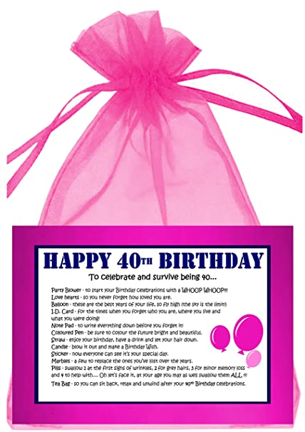40TH BIRTHDAY SURVIVAL KIT PINK Amazoncouk Kitchen Home
