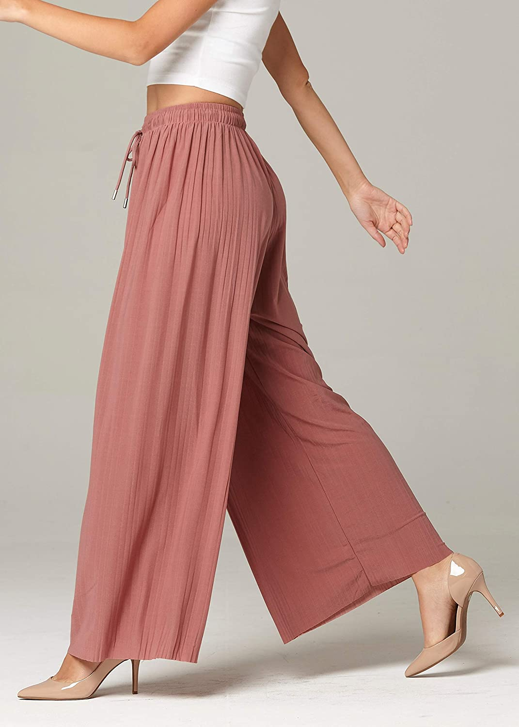 High Waisted Micro Pleated Premium Stretch Palazzo Pants for Women Regular and Plus Sizes